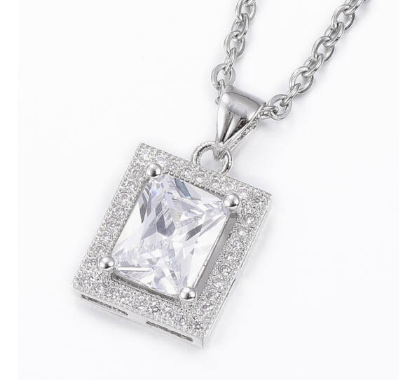 Silver steel necklace with crystal