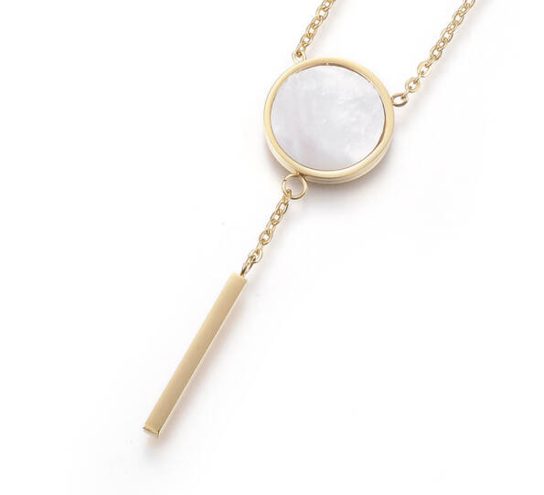 Gold steel necklace with howlite