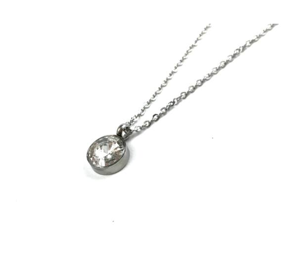 Silver steel necklace with howlite