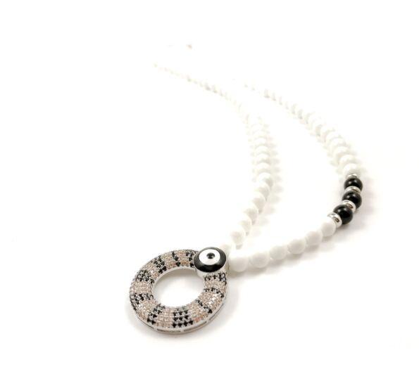 Luxury milkquarcz silver medal necklace