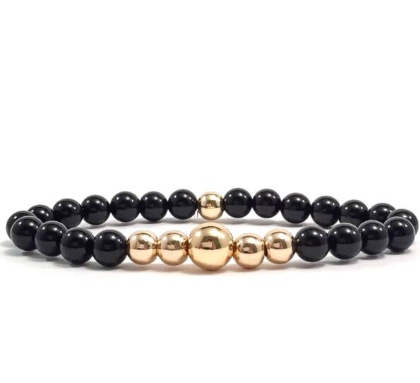 Onyx gold pearl bracelet