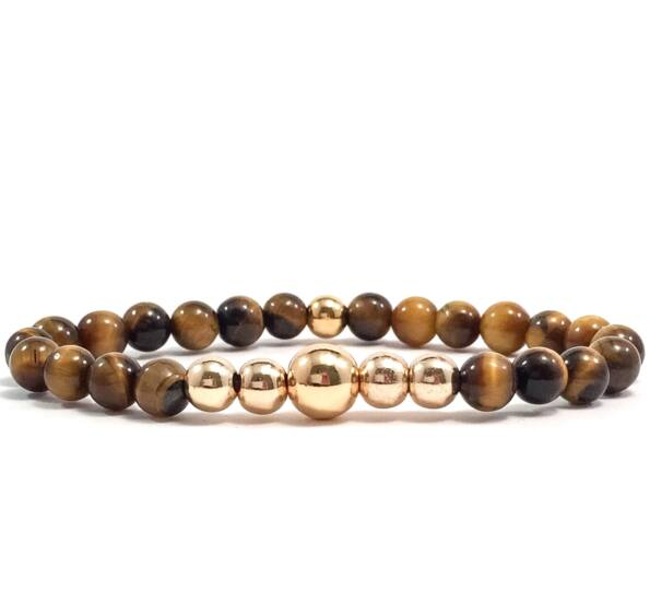 Tiger's eye gold pearl bracelet