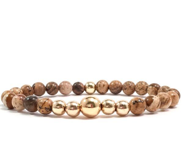 Jasper gold pearl bracelet