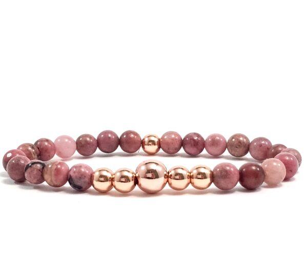 Rodonite rosegold pearl bracelet
