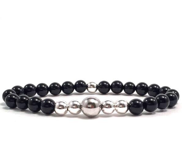 Onyx silver pearl bracelet
