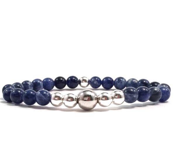 Sodalite silver pearl bracelet