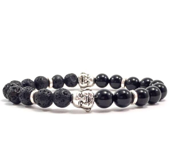 Onyx and lava buddha bracelet