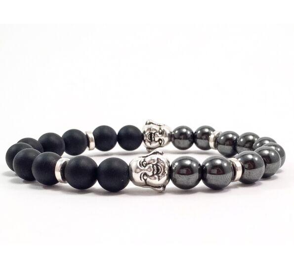 Matte onyx and hematite buddha bracelet