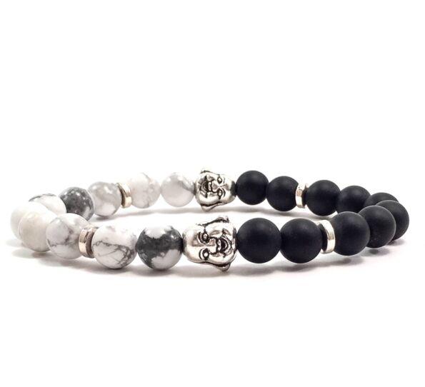 matte onyx and howlite buddha bracelet