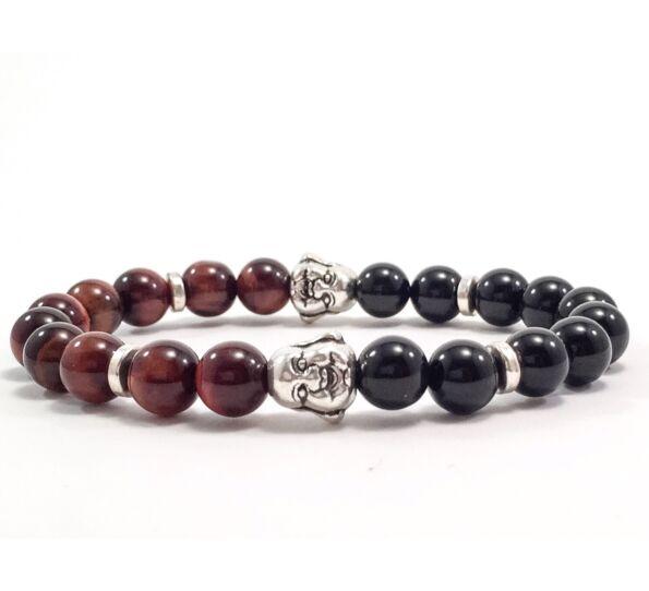 Onyx and cat's eye buddha bracelet