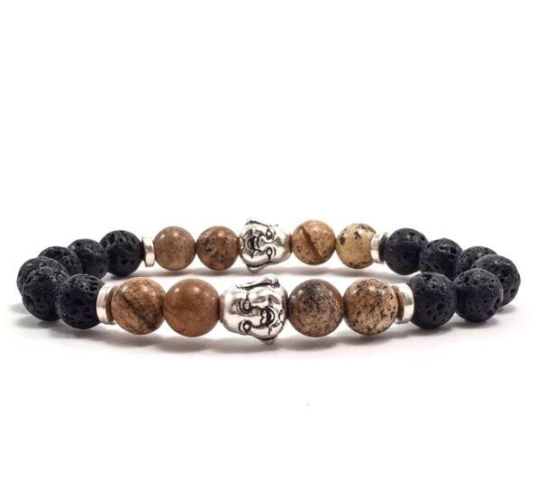 Lava and jasper rich buddha bracelet