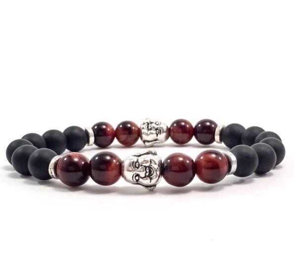 Matte onyx and cat's eye rich buddha bracelet