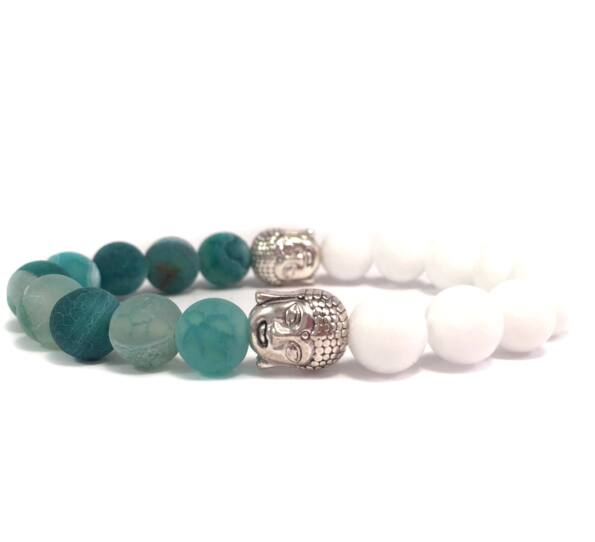 Milk quarcz and green agate half buddha bracelet