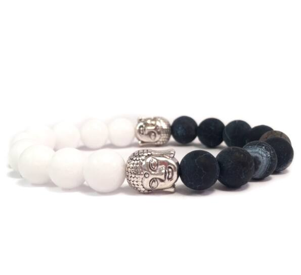 Milk quarcz and grey agate half buddha bracelet