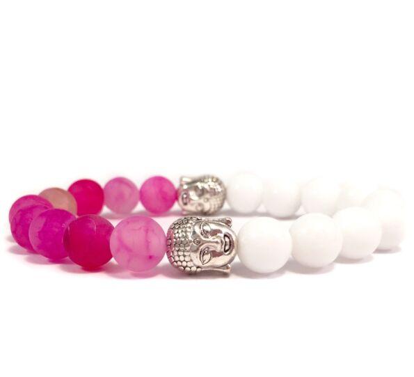 Milk quarcz and pink agate half buddha bracelet