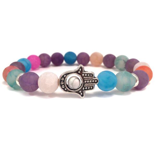 Rainbow agate hamsa bracelet