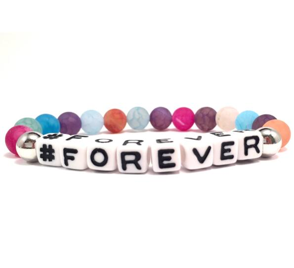 Rainbow pearl and white letter bracelet