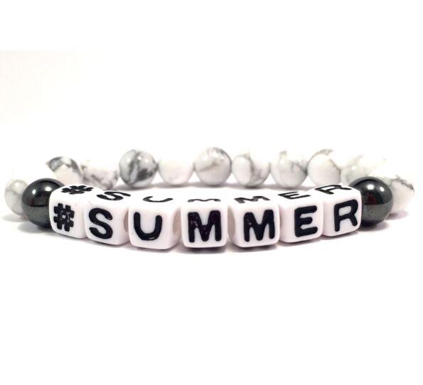 Howlite white letter bracelet