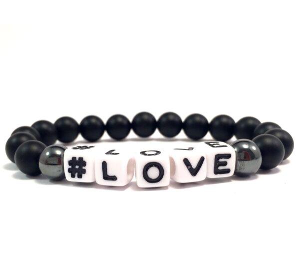 Matte onyx white letter bracelet