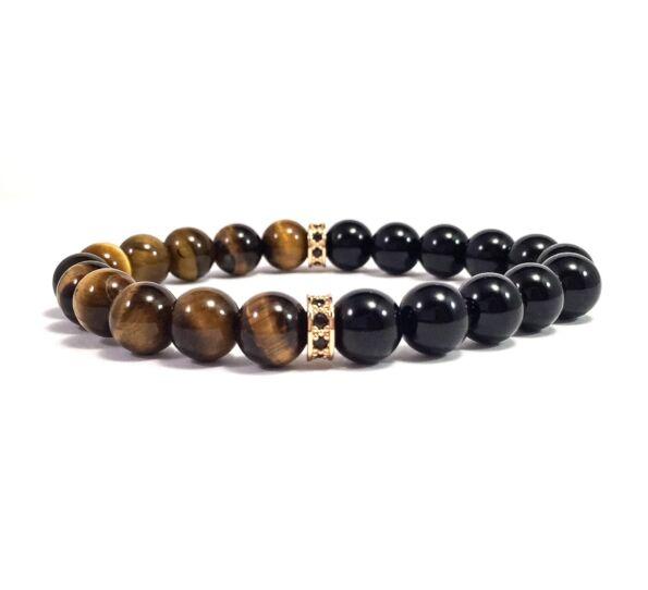 Onix and tigereye half bracelet