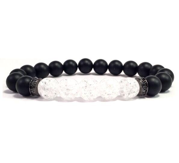 Matte onix and rhinestone bracelet