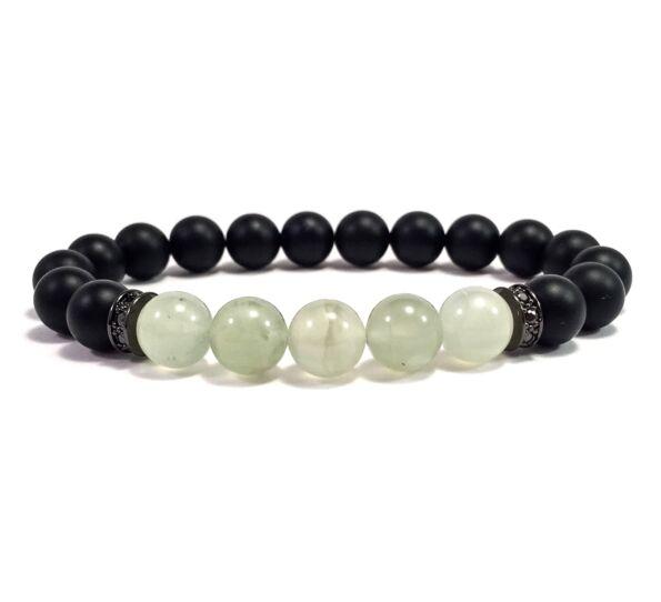 Matte onyx and jade bracelet