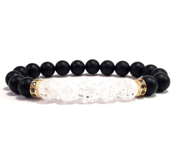 Matte onyx and rhinestone bracelet