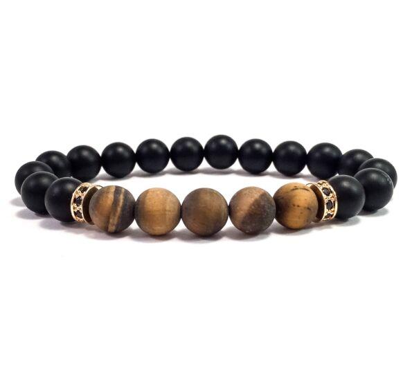 Matte onix and matte tiger's eye bracelet
