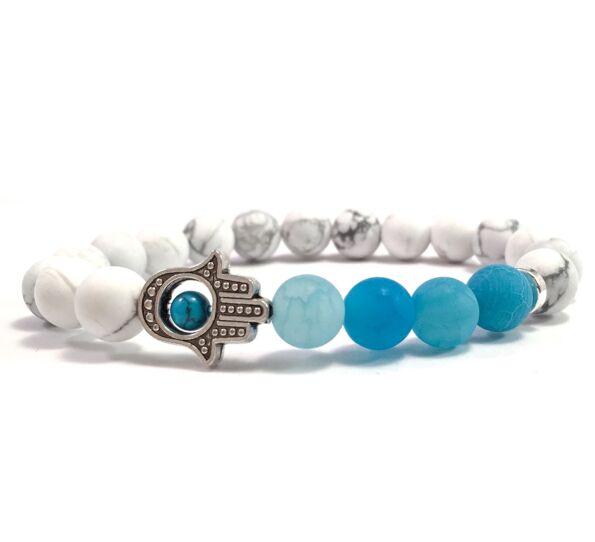 Howlite and blue agate hamsa bracelet