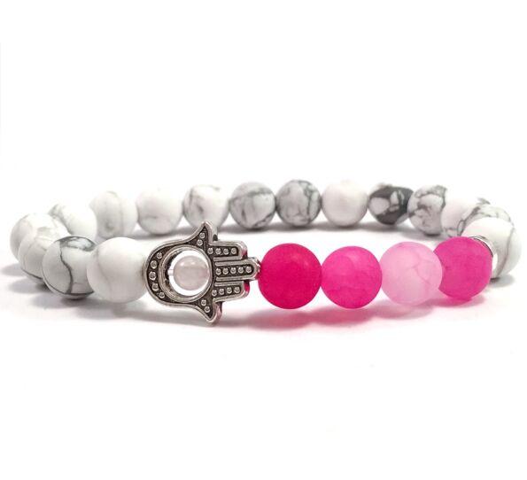 Howlite and pink agate hamsa bracelet