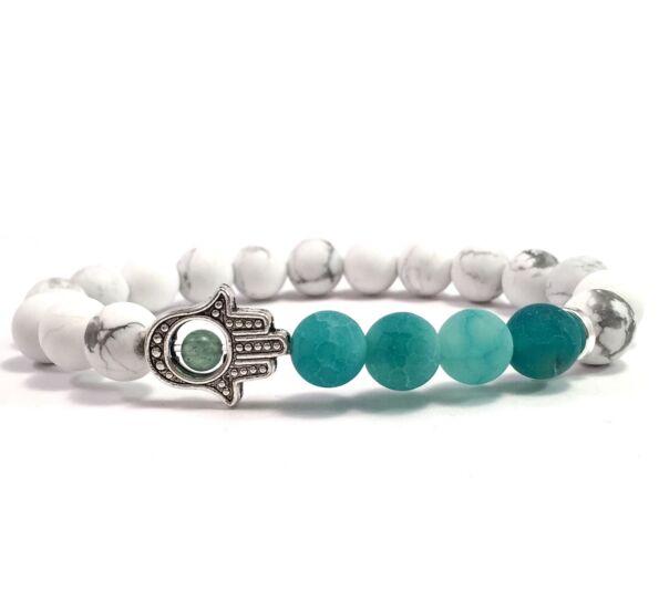 Howlite and green agate hamsa bracelet