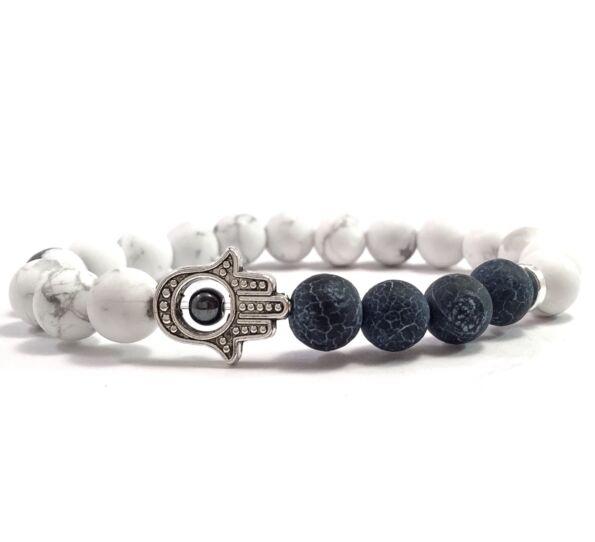 Howlite and grey agate hamsa bracelet