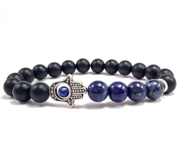 Matte onyx and lazuli hamsa bracelet
