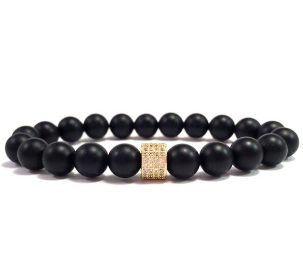 Matte onyx one gold ring bracelet