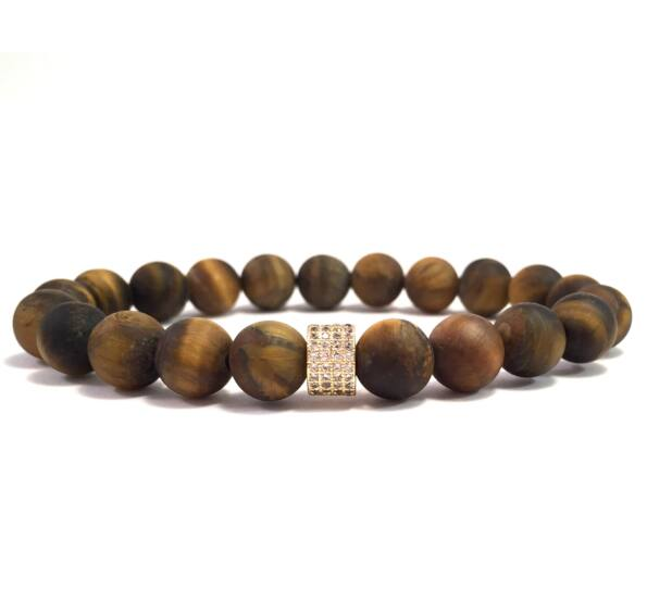 Tiger's eye gold ring bracelet