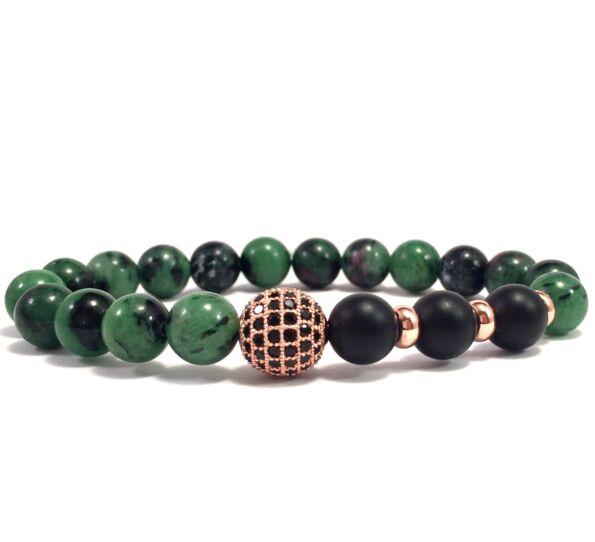 Zoizit and rosegold zircon ball beaded bracelet