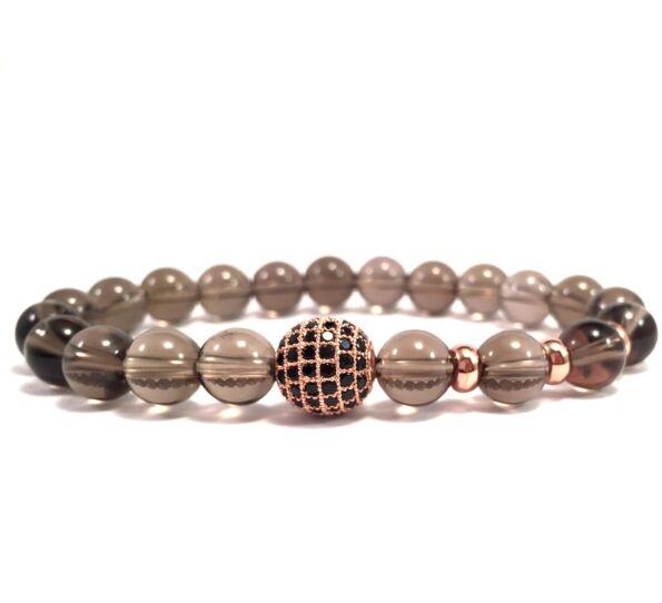 Cairngorm rosegold zircon ball beaded bracelet