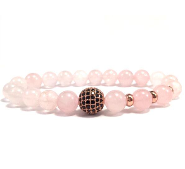 Rosequarcz rosegold zircon ball beaded bracelet
