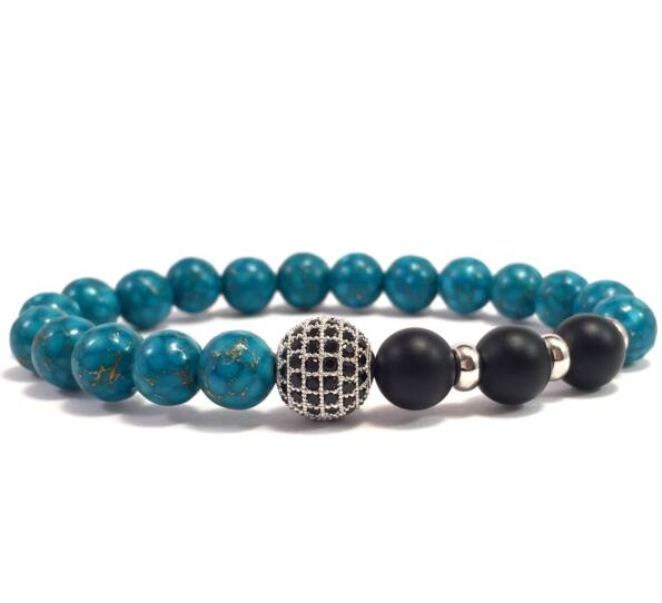 Turkic and matte onyx silver zircon ball beaded bracelet