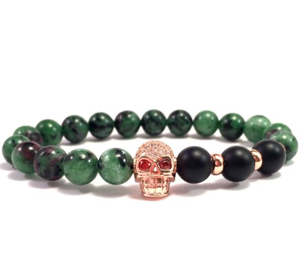 Zoizit and matte onyx swarovski rosegold skull beaded bracelet