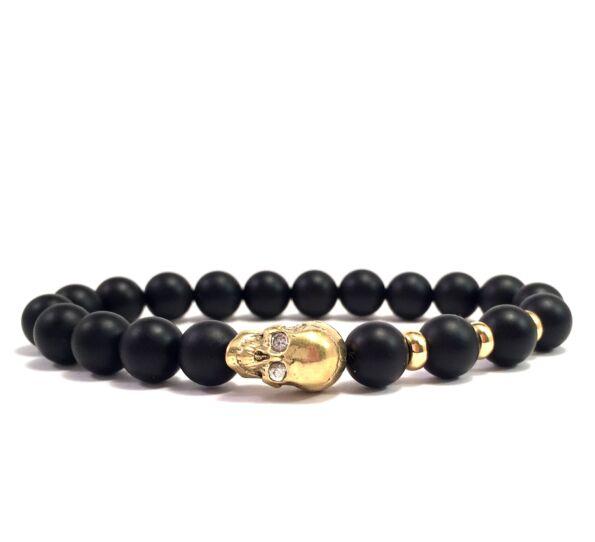 Matte onyx gold skull bracelet (2)