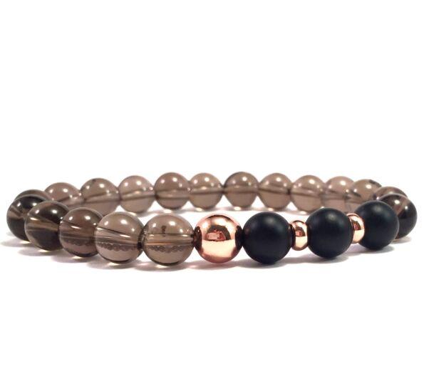 Cairngorm and matte onyx rosegold pearl bracelet