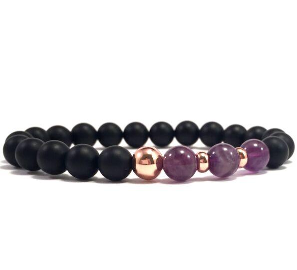 Matte onyx and amethyst rosegold pearl bracelet