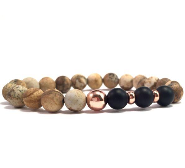 Jasper and matte onyx rosegold pearl bracelet