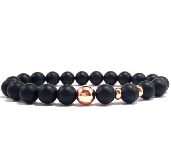 Matte onyx rosegold pearl bracelet