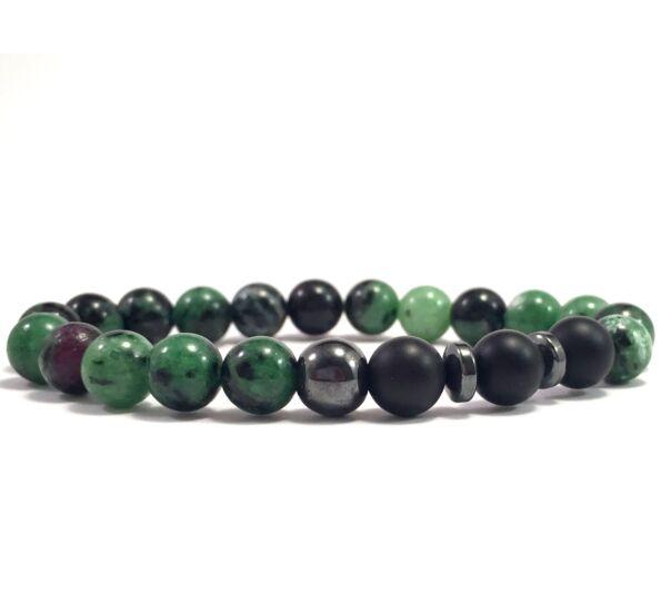 Zoizit and matte onyx titan pearl bracelet