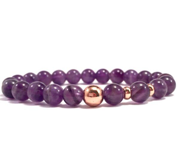 Amethyst rosegold pearl bracelet