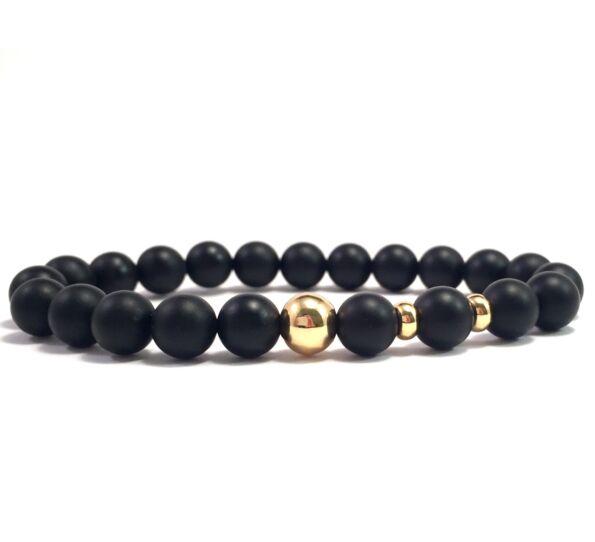 Matte onyx gold pearl bracelet