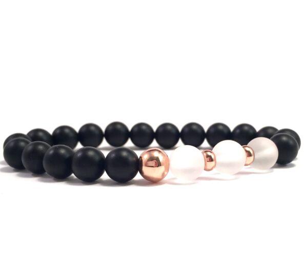 Matte onyx and matte rosequarcz rosegold pearl bracelet