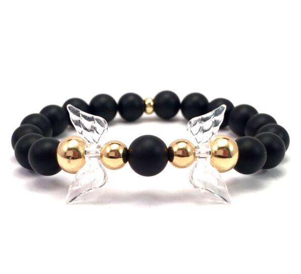 Matte onyx and gold angel bracelet